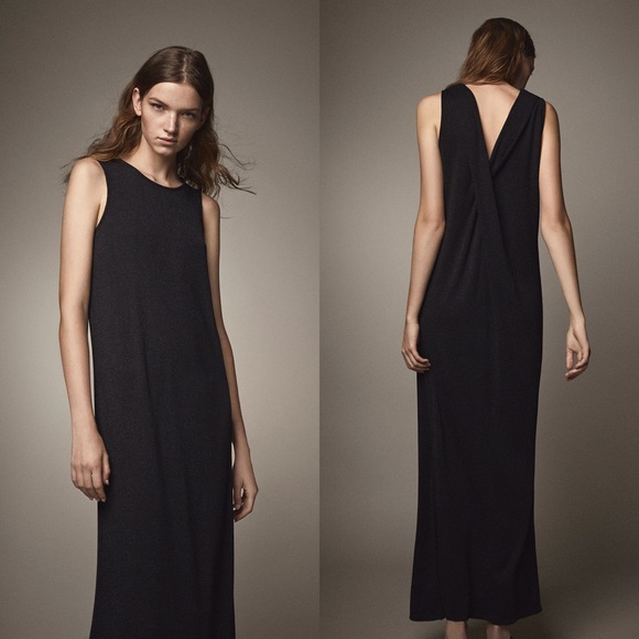 NEW Massimo Dutti Metallic Twist Back Maxi Dress